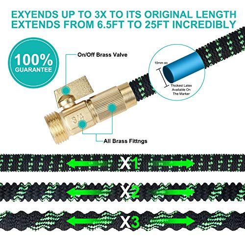 Longterm Expandable Garden Hose Set 100ft,Strength Fabric 3750D,9 Latex Layers, 3/4\