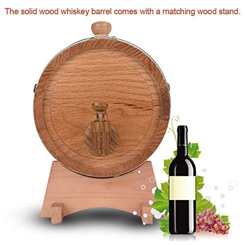 Oak Barrel, 3L Vintage Wood Oak Timber Wine Barrel Dispenser for Whiskey Aging Barrel Bourbon Tequila Brewing Port Kegs (3L) by Yosooo (Image #5)
