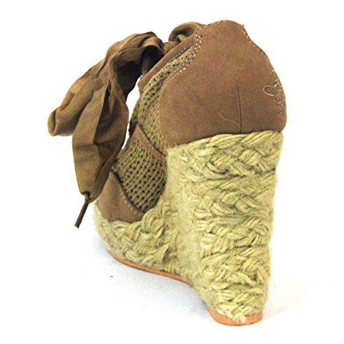 Juicy Couture cordones, plataforma Cuñas Talla 3,5 Marrón - natural