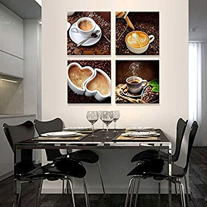 16 x 16 4 Panels of Coffee Painting Spoonbills Modern Canvas Print Art for Home Decoration
