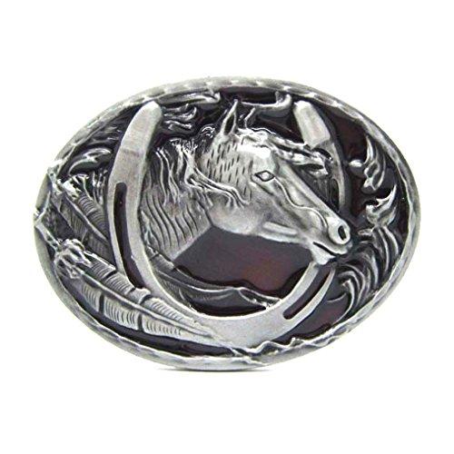 MASOP Engraved Animal Equestrian Horseshoe Horse Head Oval Cowboy Belt Buckle