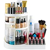 types of countertops Jerrybox 360 Degree Rotating Makeup Organizer, Multi-Function Vanity Cosmetic Storage Drawers for Countertop, Fits Different Types of Cosmetics, Large Capacity, White
