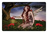 Ambesonne Fantasy Pet Mat for Food and Water, Redhead Fairy with Wings Holding a Butterfly Catcher Lantern Surrounded by Poppies, Rectangle Non-Slip Rubber Mat for Dogs and Cats, Multicolor