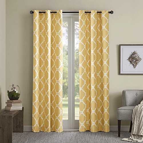 Yellow Curtains for Living Room, Modern Contemporary Silver Room Darkening Window Curtains for Bedroom, Merritt Geometric Modern Grommet Window Curtains, 42X63, 2-Panel Pack