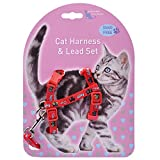 MyfatBOSS Leash for Cats, Cat Harness and Leash, Adjustable Cat Harness Nylon Strap Collar with Leash (Red)