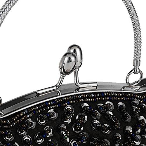 nuziale da pochette Nero borse sera da donna in la da fiore paillettes da sera Borsa per Borsellino rilievo per e argento con color Kofun sera donna festa con wp4z6Xq