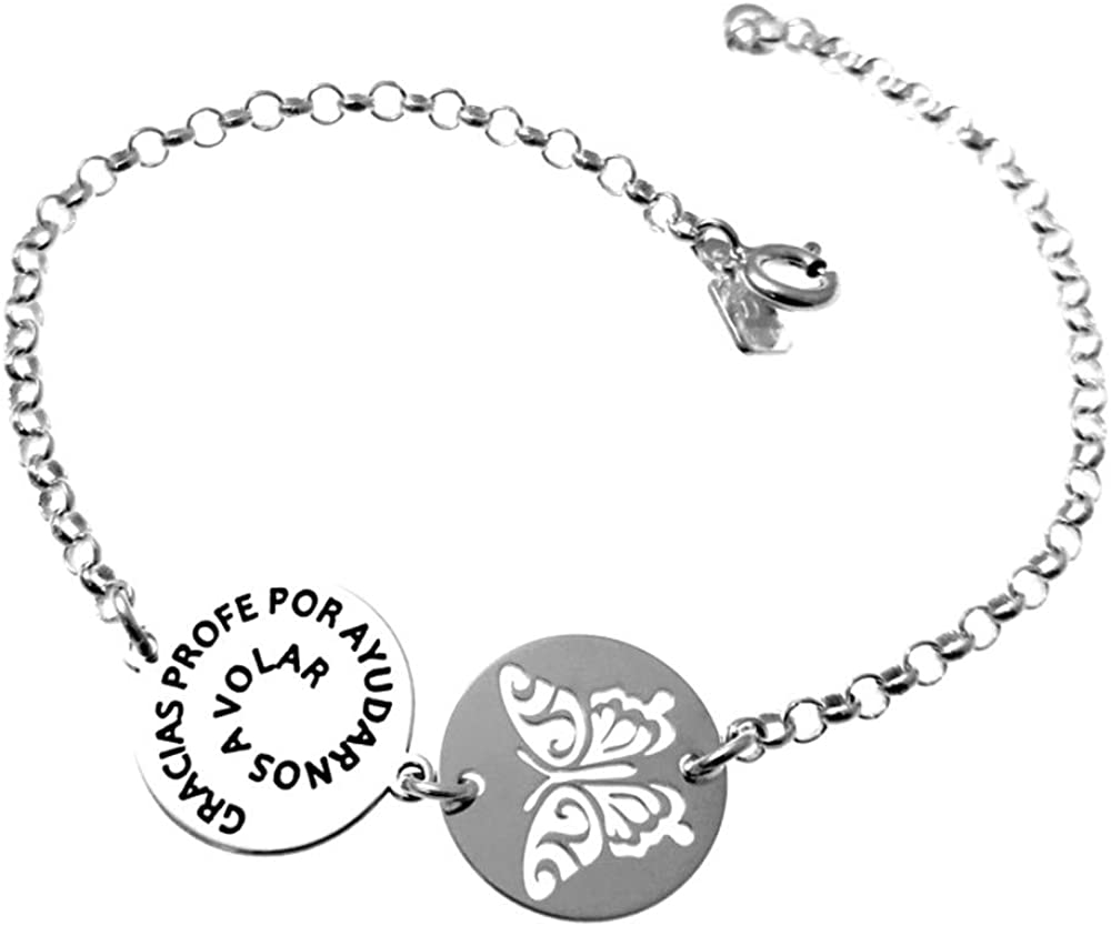 Pulsera plata Ley 925m cadena rolo 19cm. chapas GRACIAS PROFE POR AYUDARNOS A VOLAR mariposa calada