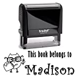 Black Ink, Customized Owl with Glasses and Pencil Self Inking Stamp. This Book Belongs To Children's Stamper. Personalized Library Book Labels. Great Stamping Gift for Students or Teachers.