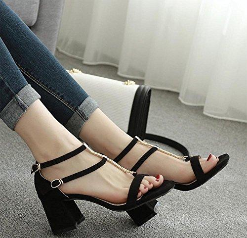 Verano gruesa con sandalias de tacón alto de la cabeza hueca cuadrada hebilla de zapatos abiertos tras bolsa con sandalias negro