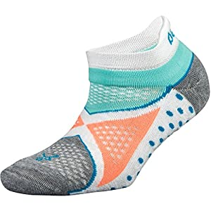 Balega Enduro V-Tech No Show Socks For Men and Women (1-Pair), White/Aqua, Large
