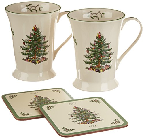 Spode Christmas Tree Mug and Coaster Set, Set of 2 -
