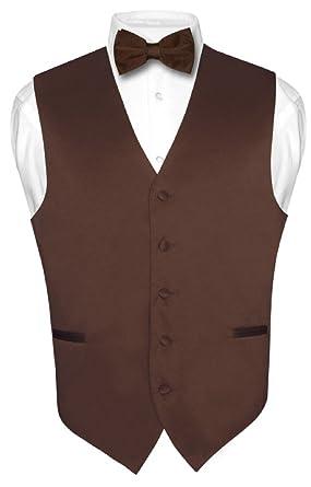 men s dress vest bowtie solid chocolate brown color bow tie set