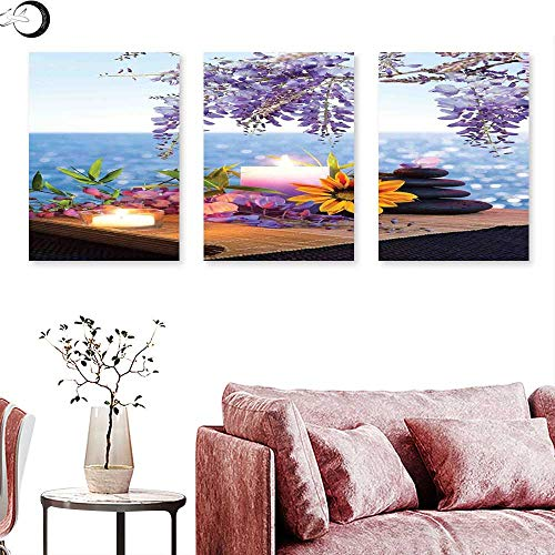 J Chief Sky Spa Decor Landscape Canvas Massage Stones with Daisy and Wisteria with The Seabed Foliage Meditation Triptych Art Triptych Art Canvas W 16