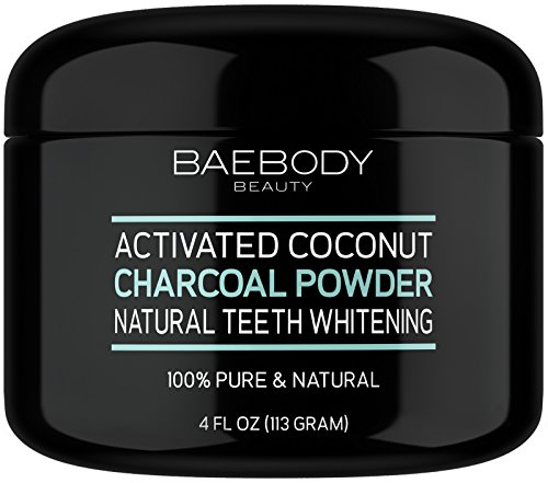 Baebody Teeth Whitening Charcoal Powder - All Natural with Activated Coconut Charcoal and Bentonite Clay. - Large 4 oz
