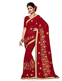 Shonaya Red color Georgette Embroidery Saree & Unstitched Blouse Piece,Free Size