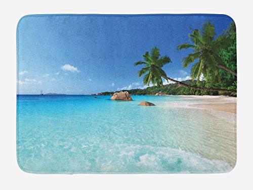 Ocean View Bath - Ambesonne Ocean Bath Mat, ANSE Lazio Beach at Praslin Island Surfing Beach Scenic View Travel, Plush Bathroom Decor Mat with Non Slip Backing, 29.5 W X 17.5 W Inches, Turquoise Blue Green