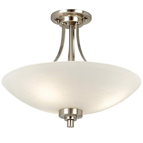 4349844fbf23 410mm Semi Flush Ceiling Mounted Down Light | Satin Chrome & White Glass |  3X E27 ...