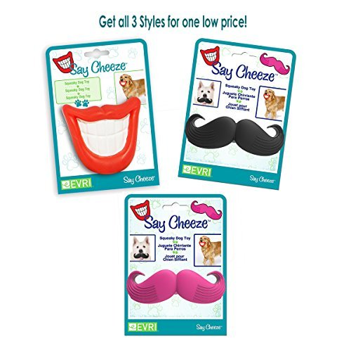 - Say Cheeze Dog Squeaky Toy - All 3 in one set Mouth, Black Mustache and Pink Mustache