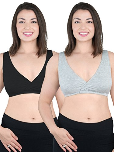 (Loving Moments by Leading Lady Women's Sleep Leisure Bra 2 Pack Bra, Black with Grey Pack,)