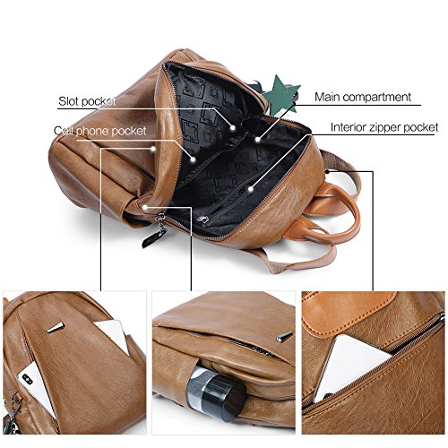 Backpack Purse for Women PU Leather Large Waterproof Travel Bag Fashion Ladies School Shoulder Bag brown by Cluci (Image #3)
