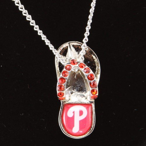 - Philadelphia Phillies - MLB Crystal Flip Flop Necklace