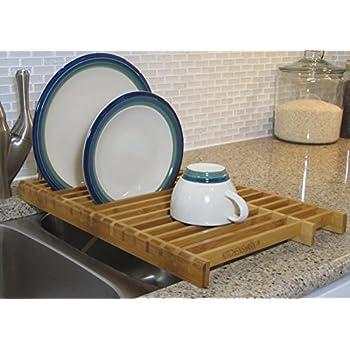 KitchenEdge Over the Sink Dish Drying Bamboo Rack  sc 1 st  Amazon.com & Amazon.com - Umbra Slat Bamboo Dish Drying Rack with Tray -