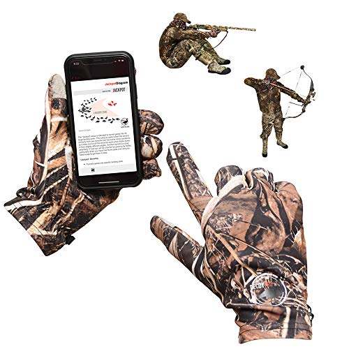 DecoyPro Touchscreen Lightweight Hunting Gloves for Men Camo - Textured Grip Palm Camo Gloves for Men Hunting - Soft Lining Mens Hunting Gloves - One Size Fits Most L to XL Camo Gloves Hunting