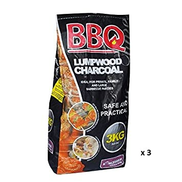 Elitezotec® Bolsas de carbón vegetal de 3 kg ideales para barbacoa Bbq Chimenea
