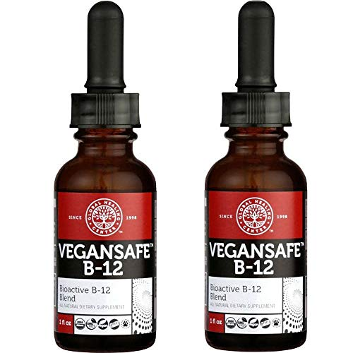 Liquid Center - Global Healing Center VeganSafe B-12 Vitamin B12 Liquid Organic Supplement - Methylcobalamin Adenosylcobalamin Blend 1 oz (2 Pack)