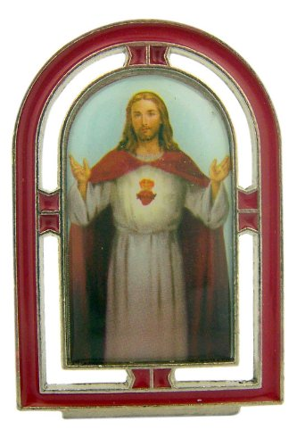 Catholic 2 1/4 Inch Silver Red Enamel Jesus Christ Sacred Heart Standing Icon