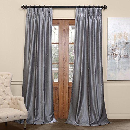 "PDCH-KBS7BO-108-FP Pleated Blackout Vintage Textured Faux Dupioni Silk Curtain, 25 x 108"", Storm Grey"