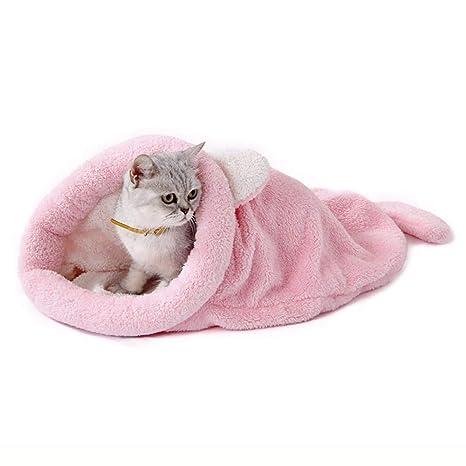 Yiuu Saco De Dormir Cama De Gato con Cueva De Mascotas Casa Cama Nido Cálido Suave para Gatos Perros Pequeños Animales Pequeños,Pink,L: Amazon.es: Hogar