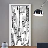 Niasjnfu Chen custom made 3d door stickers Travel Paris Seamless Pattern. Vacation in Europe Wallpaper Fabric Home Decor For Room Decor 30x79