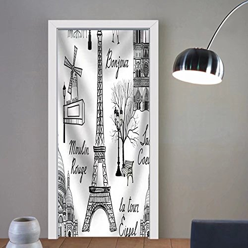 Niasjnfu Chen custom made 3d door stickers Travel Paris Seamless Pattern. Vacation in Europe Wallpaper Fabric Home Decor For Room Decor 30x79 by Niasjnfu Chen