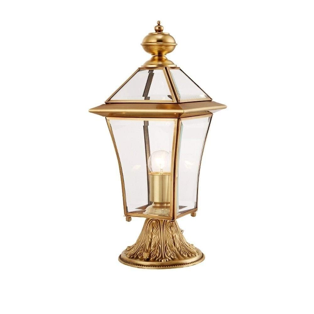 SLEVE Exterior Outdoor Pillar Lantern, Brass Body Finish Clear Seeded Glass