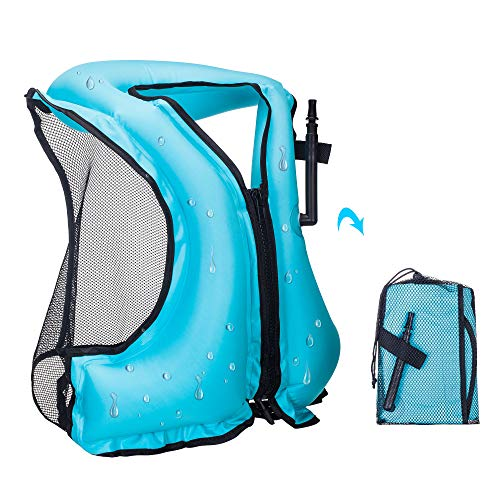 YAPASPT Inflatable Life Jacket Adult Swimming Vest for Snorkeling Suitable for 80-220 lbs