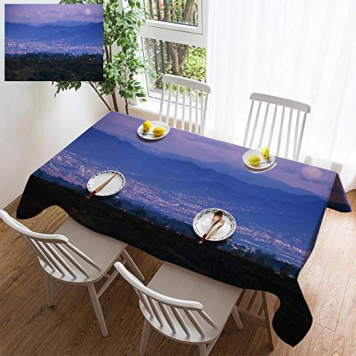 HOOMORE Simple Color Cotton Linen Tablecloth,Washable, City of San Jose at Twilight Decorating Restaurant - Kitchen School Coffee Shop Rectangular 72×54in -