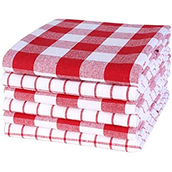Plaid Woven Kitchen Towel 18x28inch Red/ White,100% Cotton, Quick Dry, Tea Towels, Bar Towels, Highly Absorbent,Cleaning Towels, Kitchen Tea Towels, Pure Cotton, Absorbent Dish cloth Set of 6