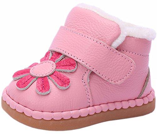 KVbaby Baby Mädchen Lauflernschuhe Warm Gefütterte Winterschuhe Leder Babyschuhe mit Klettverschluss 0-18 Monate Pink