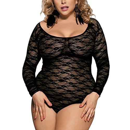 Plus Size Sheer Corset (Oliveya Womens Plus Size Sexy Long Sleeve Sheer Black Mesh Corset Bodysuit XXL)