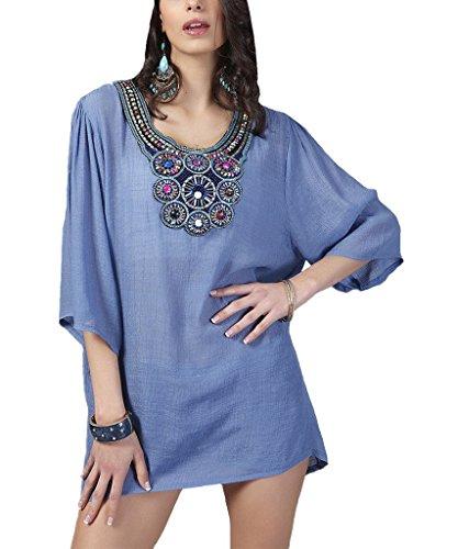 Kafeimali Women's Bohemian Embroidered Blouse Shirt Tunic Embellished Neckline (Light blue)