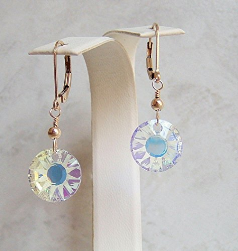 Sun Drop Costumes (Aurora Borealis Partial Frosted Round Sun Disc Swarovski Crystal Gold Filled Leverback Earrings Gift Idea)