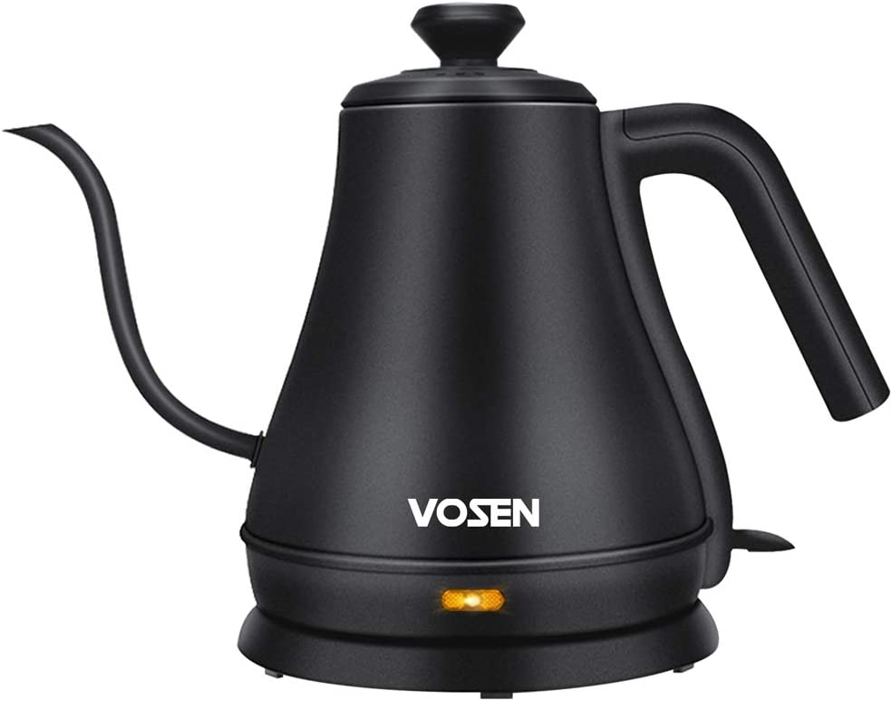 Electric Kettle, VOSEN Gooseneck Kettle, Pour Over Coffee Kettle & Tea Kettle, 100% Stainless Steel Inner Lid & Bottom, 1000 Watt Quick Heating, 0.8L, Matte Black