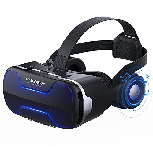 VR Headset for iPhone and Android Phone with Stereo Headphones Virtual Reality Glasses Goggles Provide 360 Panorama for VR Games 3D HD Movies Compatible with iPhone X 8 7 6 plus 6s Smartphones