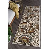 Universal Rugs 1011 Capri Transitional Area Rug, 2-Feet 3-Inch by 7-Feet 7-Inch, Ivory