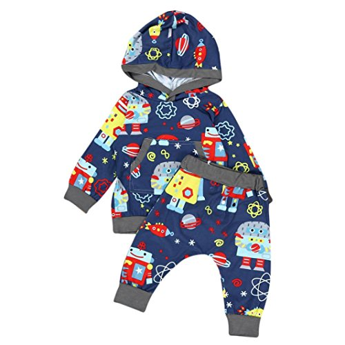Baby Pants Sets, METFIT Toddler Baby Kids Cartoon Print Sweatershirt Hooded Tops+ Pants Outfits Baby Set NEW (70)