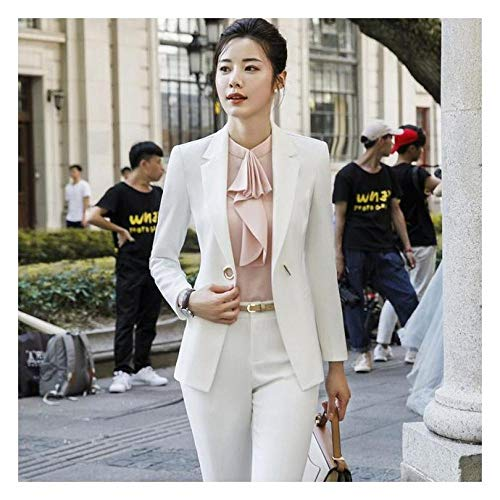 b411b0252 XUBA Women s Suit New Spring and Autumn Solid Color Slim Single Breasted  Blazers Wide Leg Pants