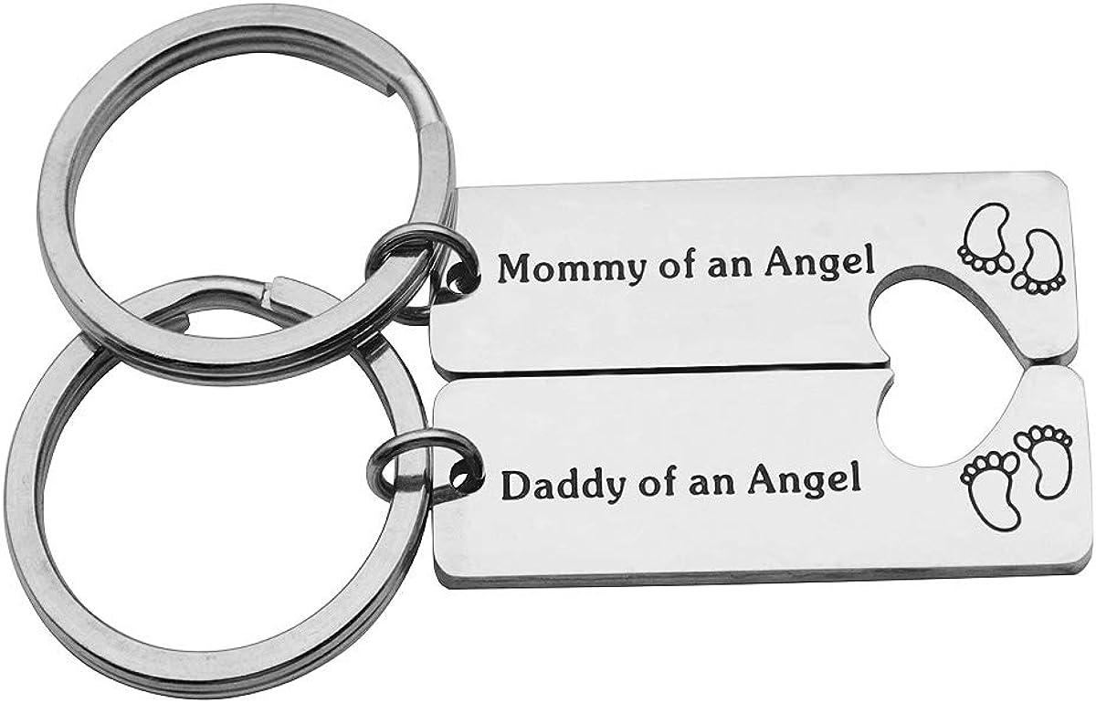 2-Piece Lead-free Mommy Daddy of an Angel Keychain Set Sympathy Gift