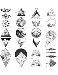 84f879f6d 12 Pieces/Lot Geometry Triangle Mountain Temporary Tattoo Sticker Cover  Women Body Arm Art Drawing