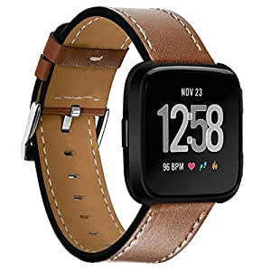 Kartice Compatible Fitbit Versa Bands Leather Fitbit Versa Genuine Leather Replacement Band with Black Stainless Steel Buckle Accessory Wristband Strap Compatible Fitbit Versa SmartWatch (Brown 3)